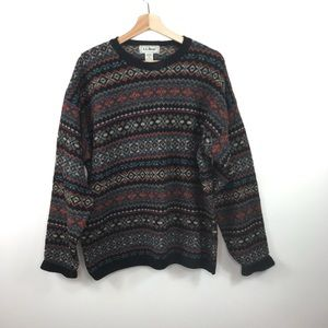 LL Bean Vintage Fair Isle Scottish Wool Sweater
